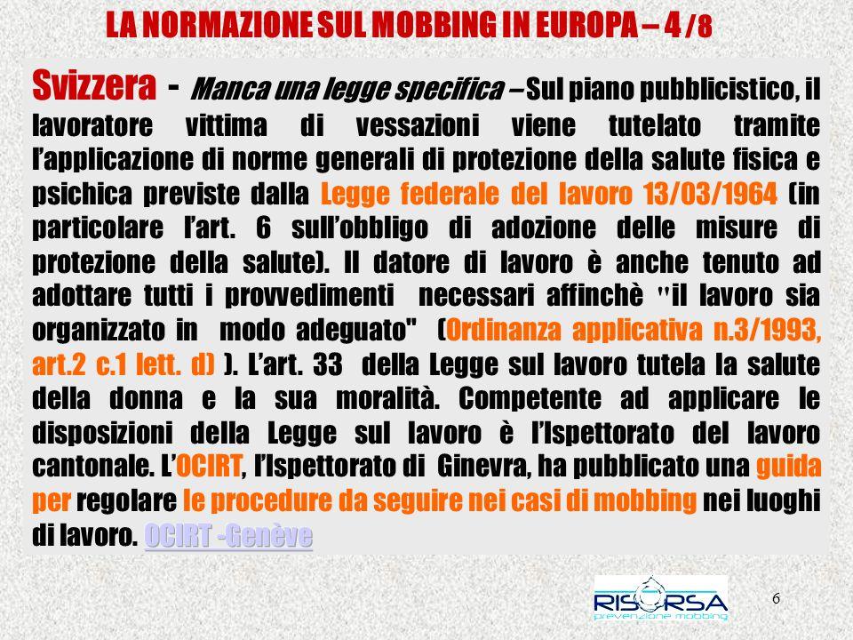 LA NORMAZIONE SUL MOBBING IN EUROPA – 4 /8