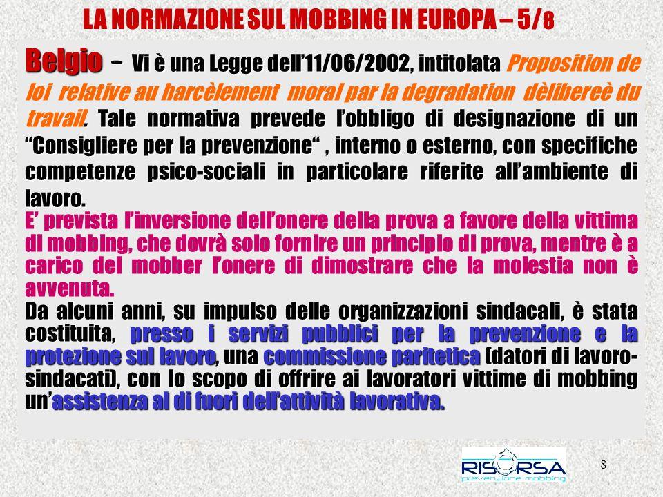 LA NORMAZIONE SUL MOBBING IN EUROPA – 5/8