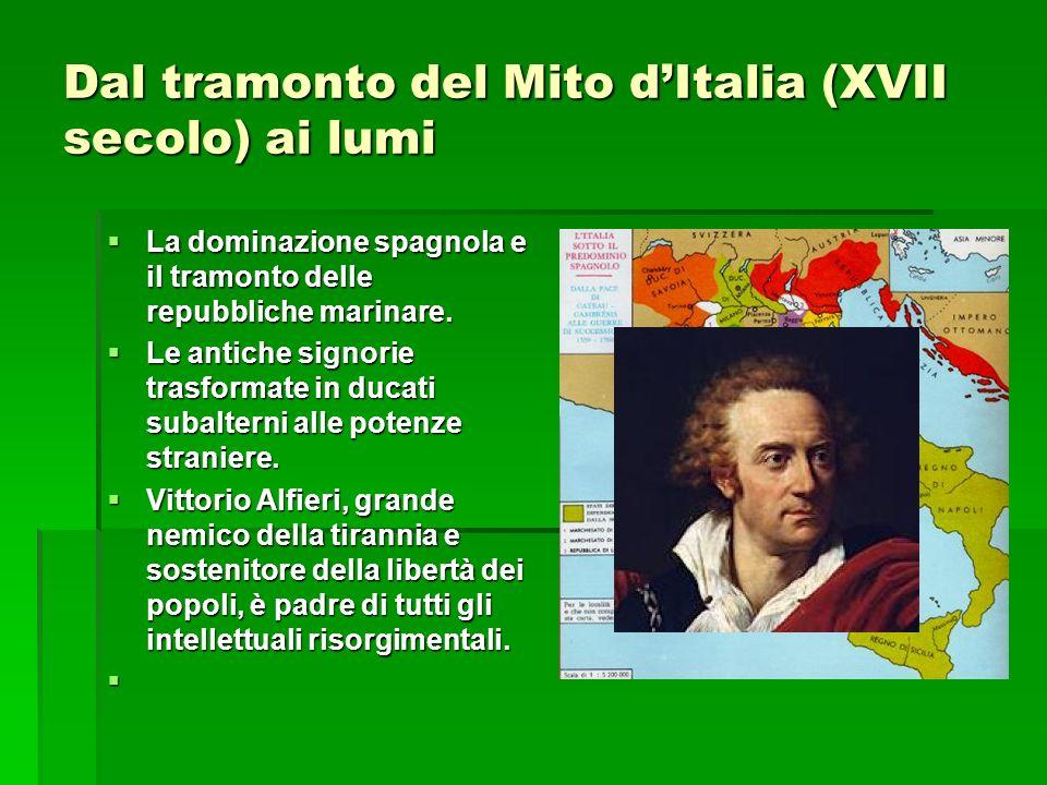 Dal tramonto del Mito d'Italia (XVII secolo) ai lumi