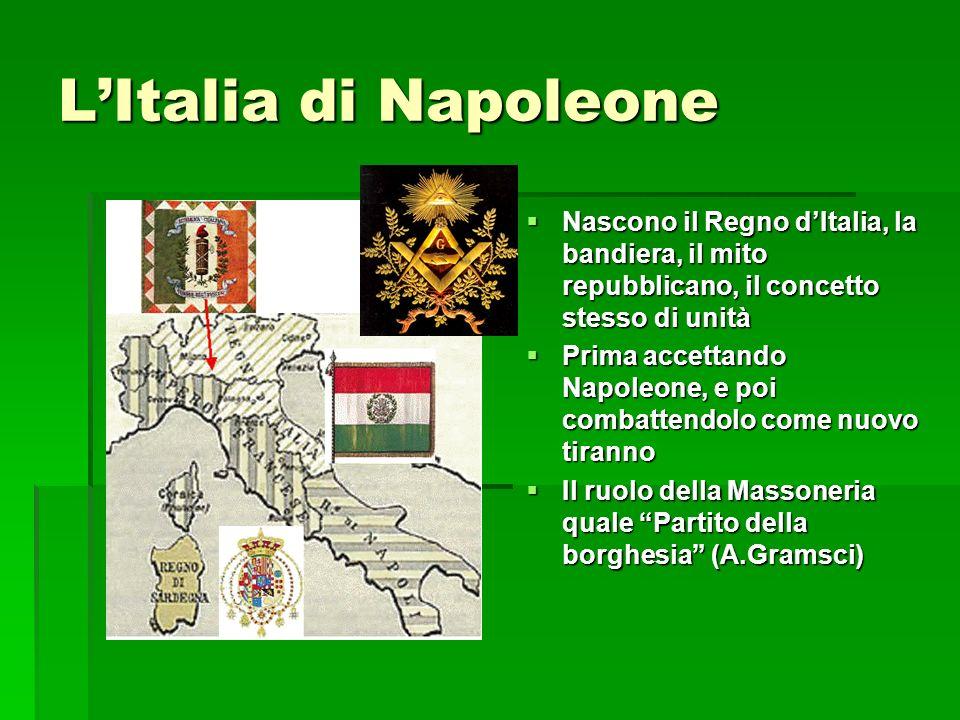 L'Italia di Napoleone Nascono il Regno d'Italia, la bandiera, il mito repubblicano, il concetto stesso di unità.