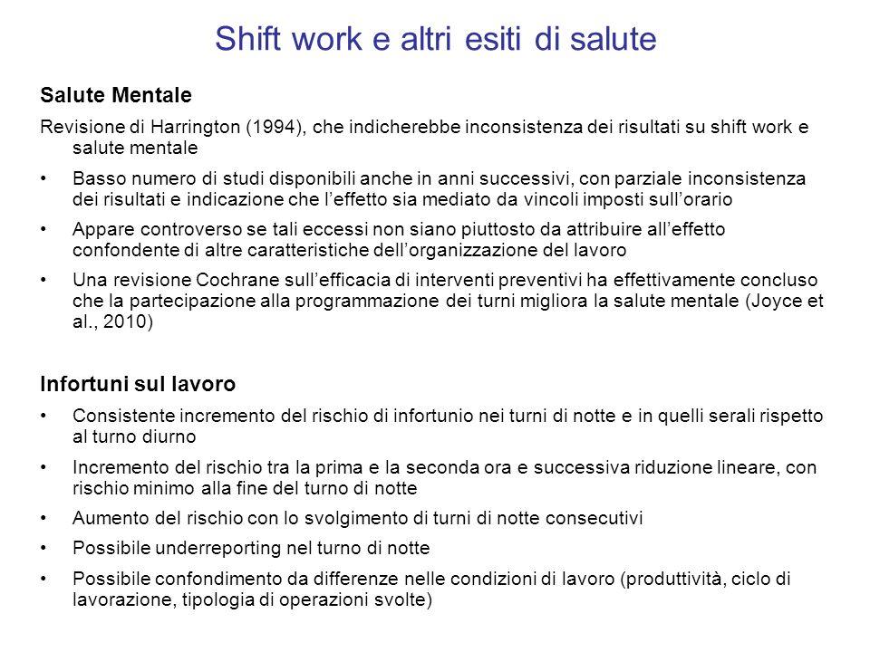 Shift work e altri esiti di salute