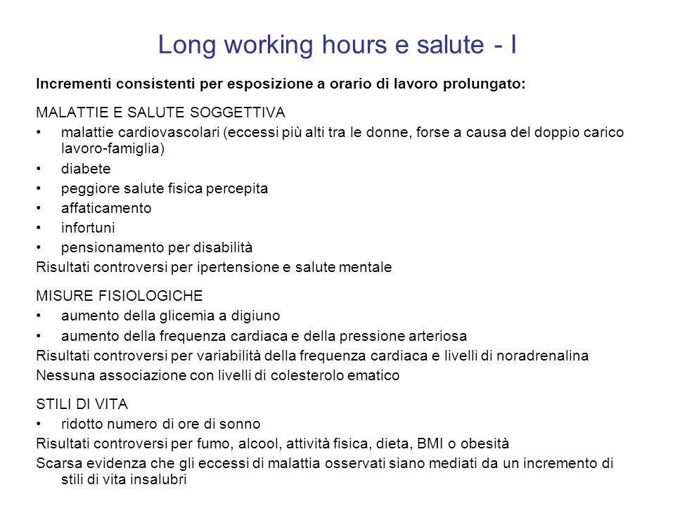 Long working hours e salute - I