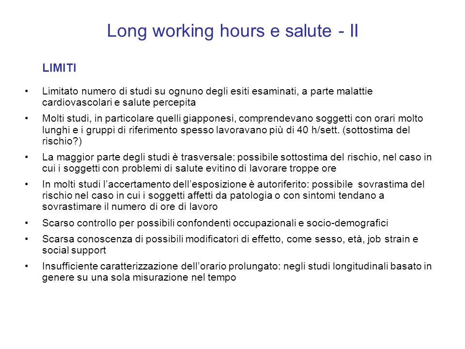 Long working hours e salute - II