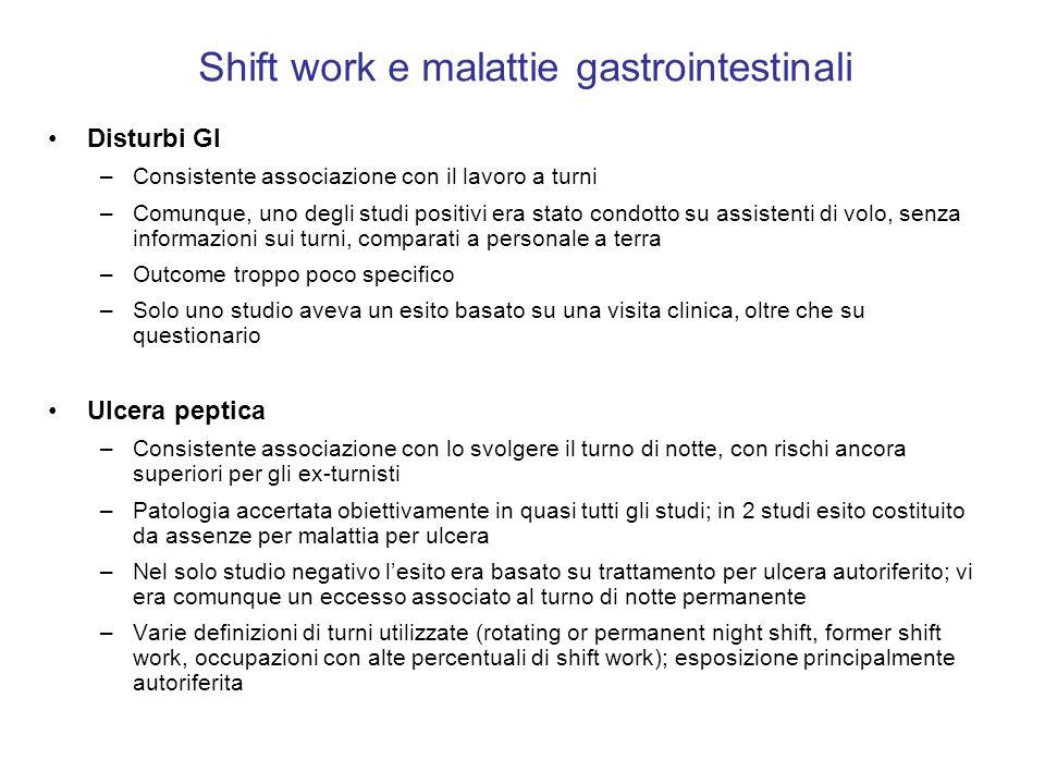 Shift work e malattie gastrointestinali