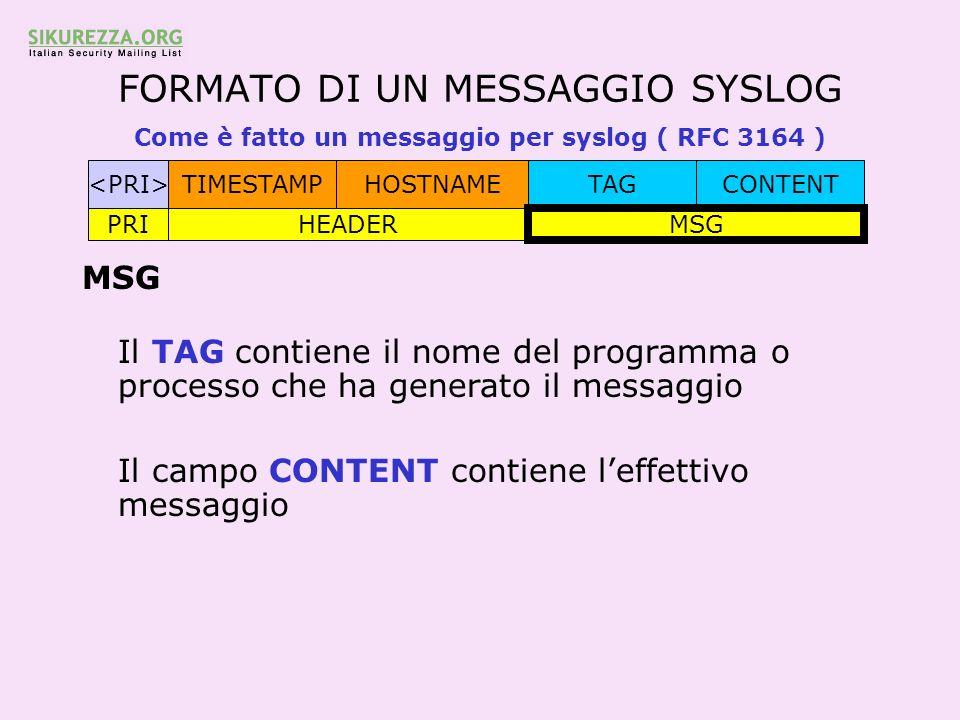 FORMATO DI UN MESSAGGIO SYSLOG