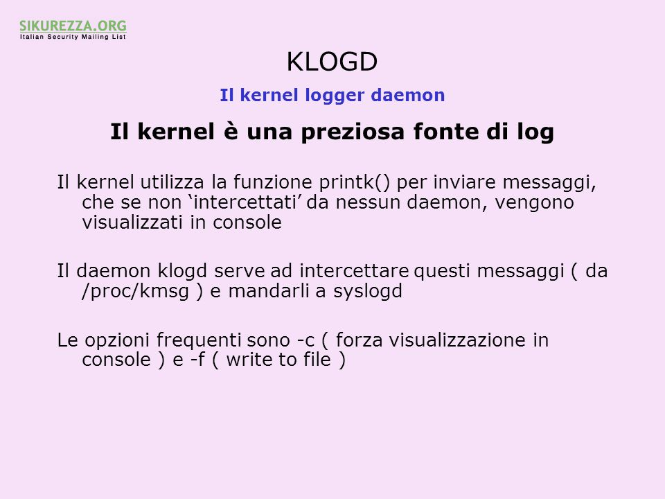 Il kernel logger daemon
