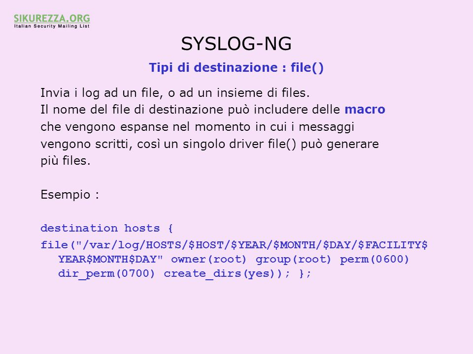 Tipi di destinazione : file()