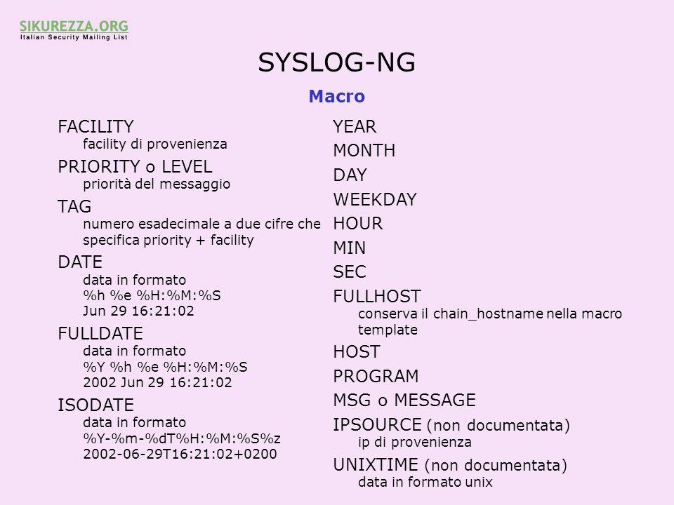 SYSLOG-NG Macro FACILITY facility di provenienza