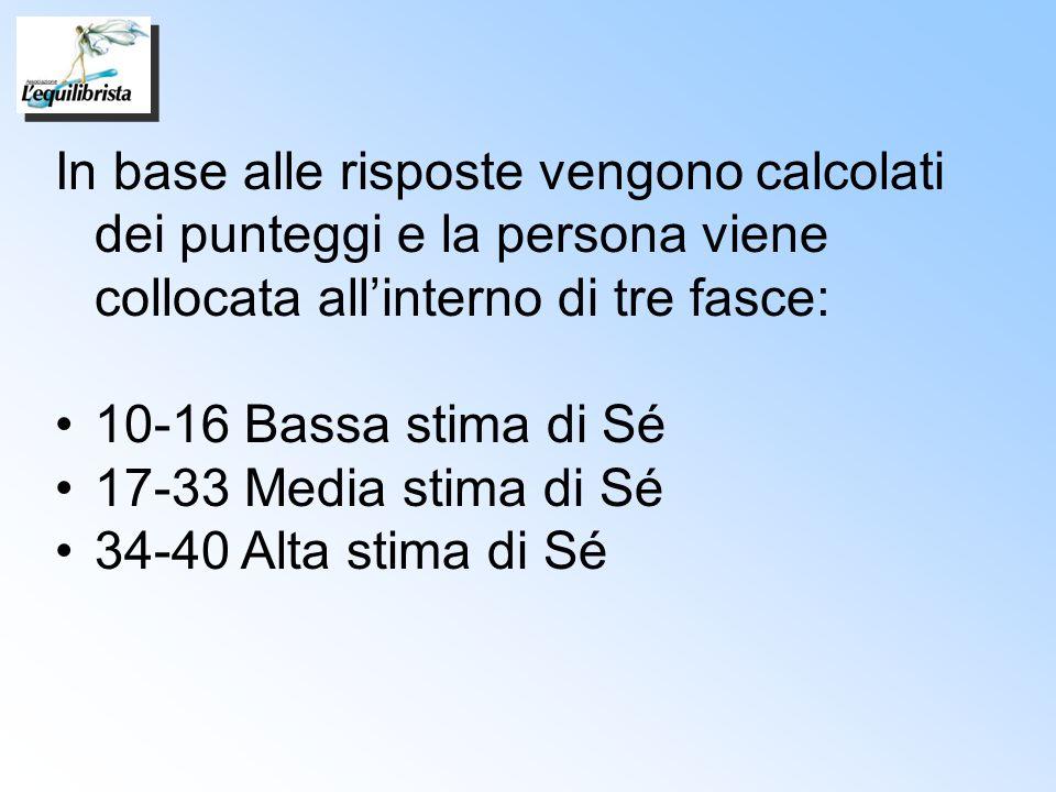 In base alle risposte vengono calcolati dei punteggi e la persona viene collocata all'interno di tre fasce: