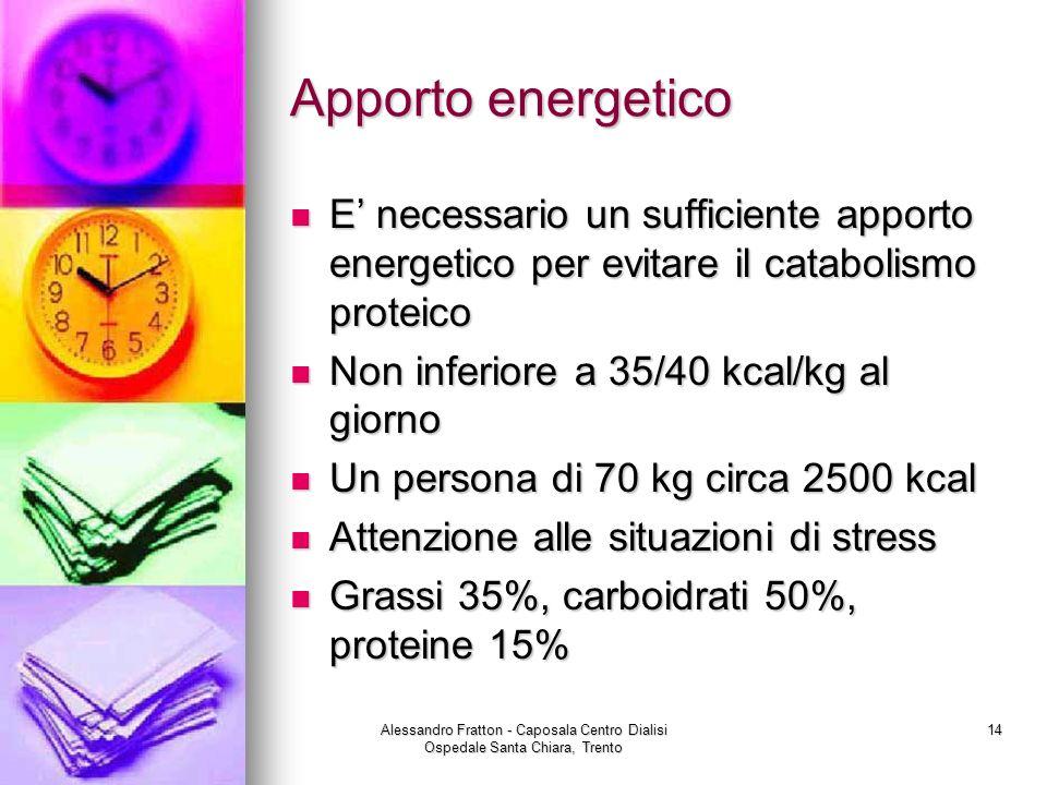 Apporto energetico E' necessario un sufficiente apporto energetico per evitare il catabolismo proteico.