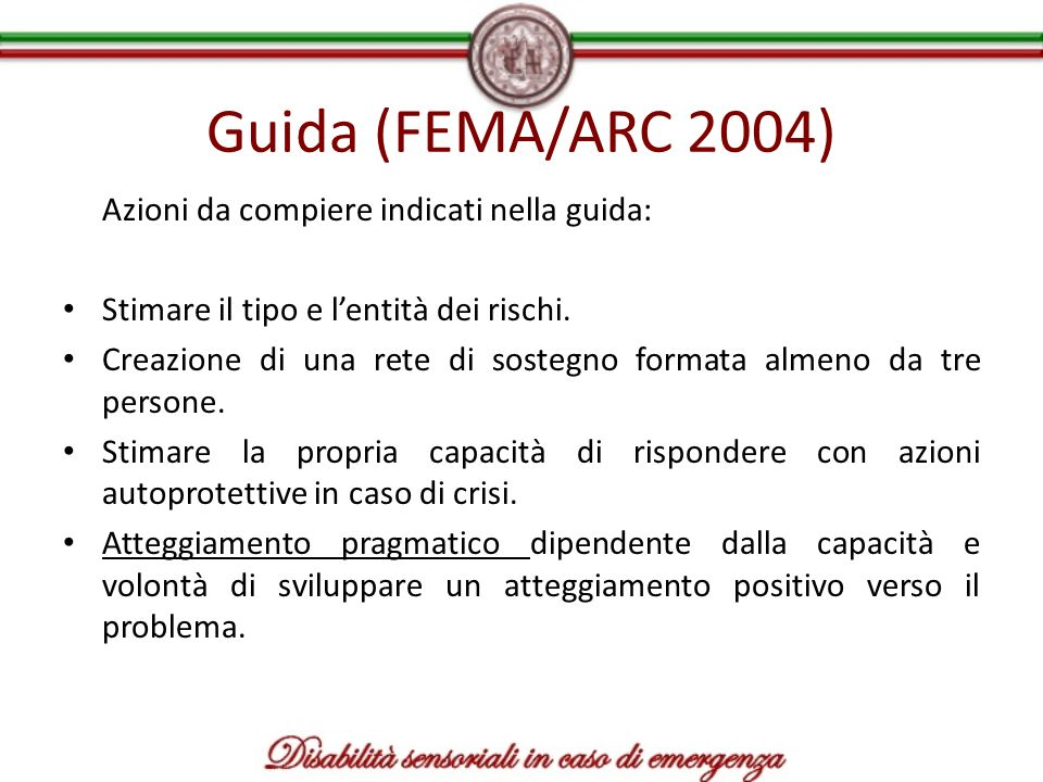Guida (FEMA/ARC 2004) Azioni da compiere indicati nella guida: