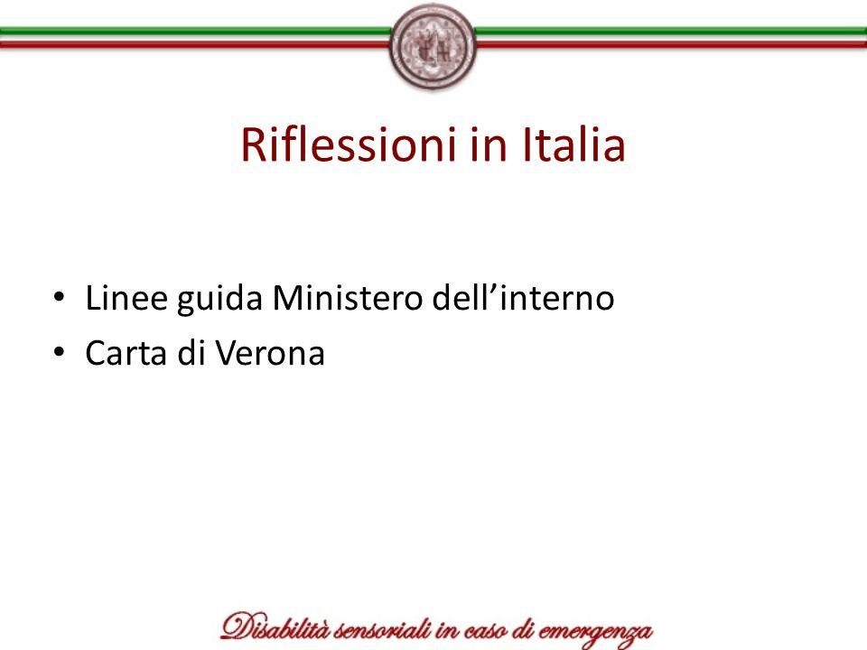 Riflessioni in Italia Linee guida Ministero dell'interno