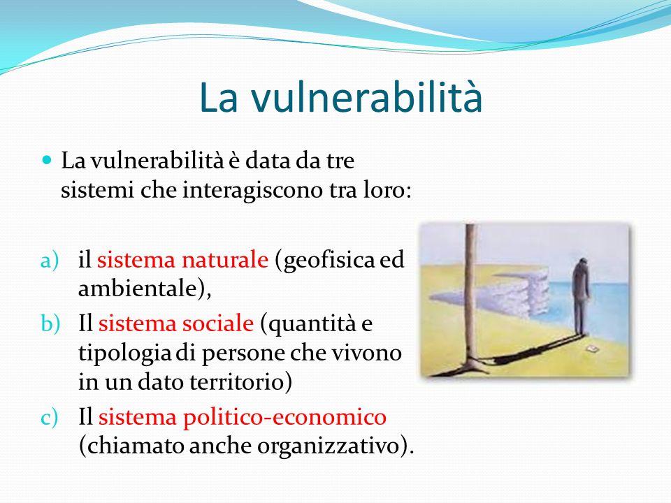 La vulnerabilità La vulnerabilità è data da tre sistemi che interagiscono tra loro: il sistema naturale (geofisica ed ambientale),