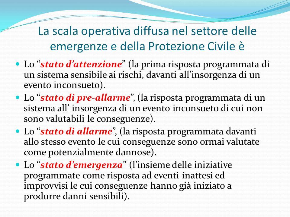 La scala operativa diffusa nel settore delle emergenze e della Protezione Civile è