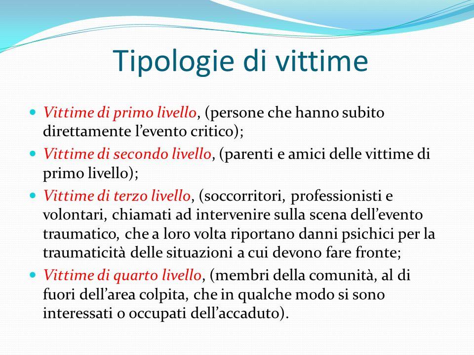 Tipologie di vittime Vittime di primo livello, (persone che hanno subito direttamente l'evento critico);