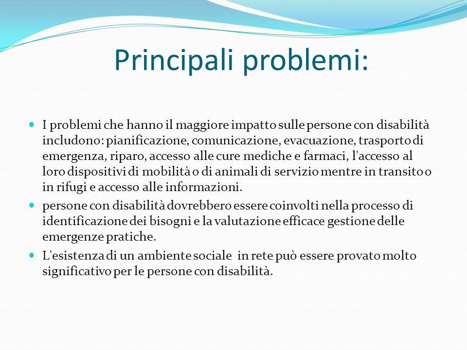 Principali problemi: