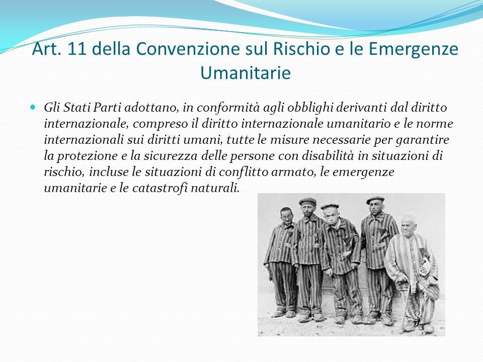 Art. 11 della Convenzione sul Rischio e le Emergenze Umanitarie