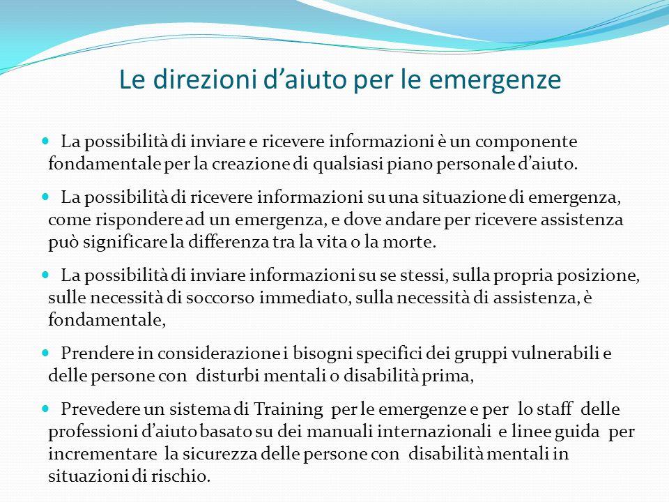 Le direzioni d'aiuto per le emergenze