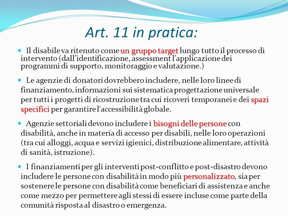 Art. 11 in pratica: