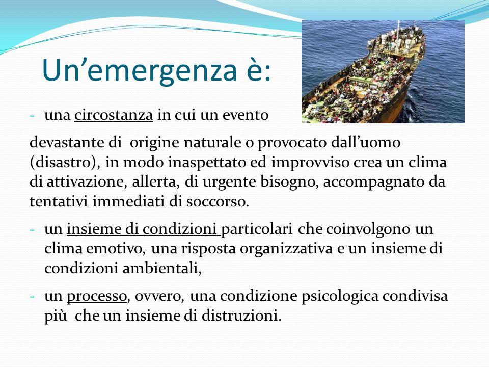 Un'emergenza è: una circostanza in cui un evento