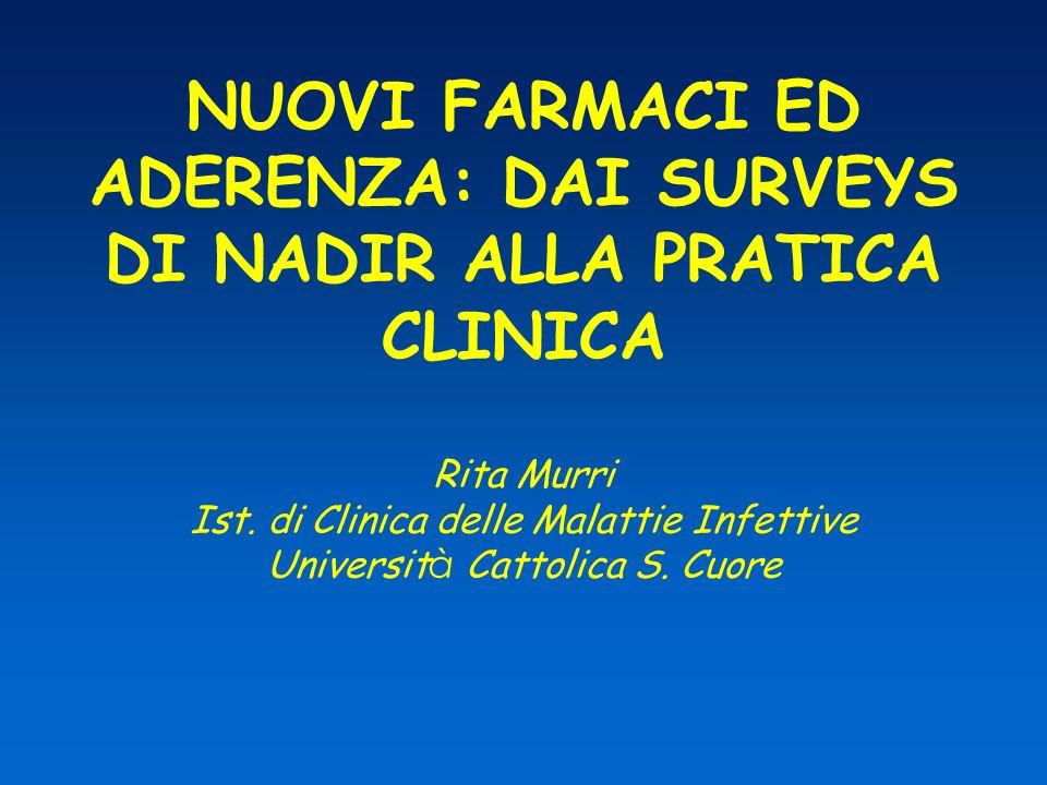 NUOVI FARMACI ED ADERENZA: DAI SURVEYS DI NADIR ALLA PRATICA CLINICA Rita Murri Ist.