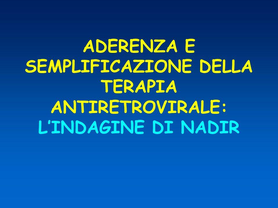 ADERENZA E SEMPLIFICAZIONE DELLA TERAPIA ANTIRETROVIRALE: L'INDAGINE DI NADIR