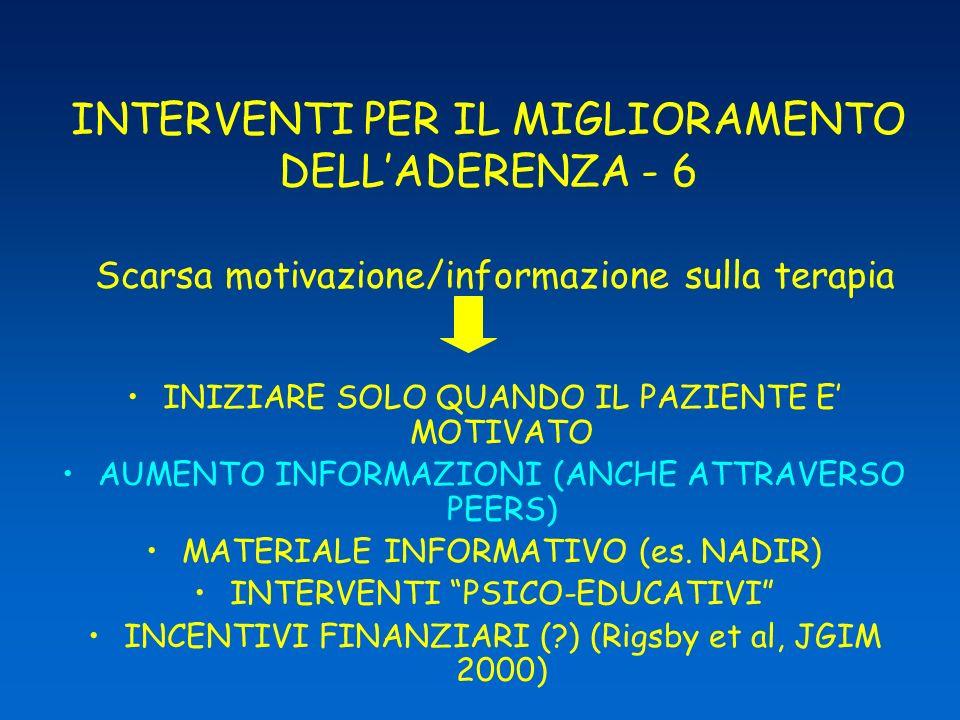 INTERVENTI PER IL MIGLIORAMENTO DELL'ADERENZA - 6 Scarsa motivazione/informazione sulla terapia