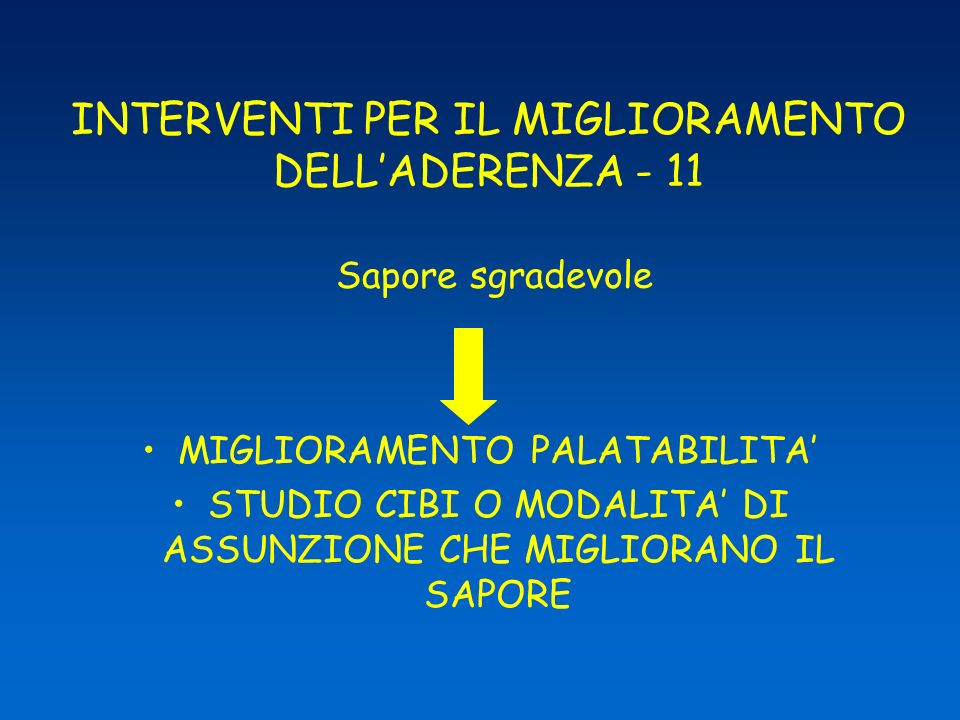 INTERVENTI PER IL MIGLIORAMENTO DELL'ADERENZA - 11 Sapore sgradevole