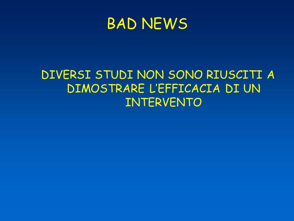 BAD NEWS DIVERSI STUDI NON SONO RIUSCITI A DIMOSTRARE L'EFFICACIA DI UN INTERVENTO