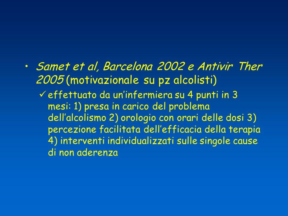 Samet et al, Barcelona 2002 e Antivir Ther 2005 (motivazionale su pz alcolisti)