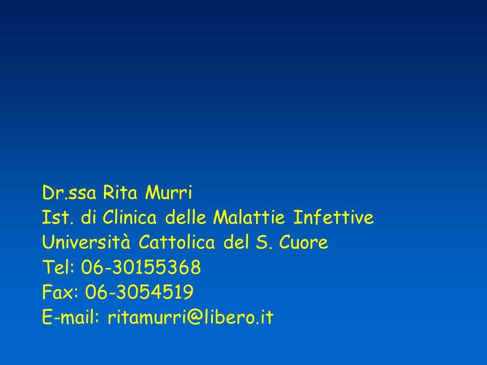 Dr.ssa Rita Murri Ist. di Clinica delle Malattie Infettive. Università Cattolica del S. Cuore. Tel: 06-30155368.