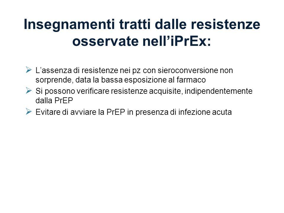 Insegnamenti tratti dalle resistenze osservate nell'iPrEx: