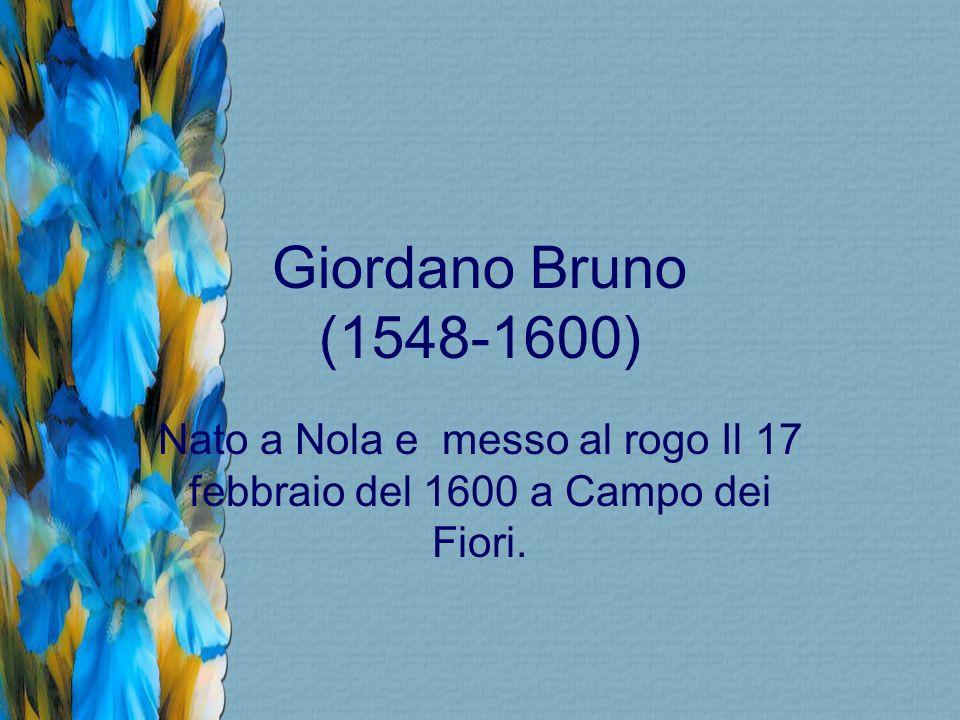 Nato a Nola e messo al rogo Il 17 febbraio del 1600 a Campo dei Fiori.