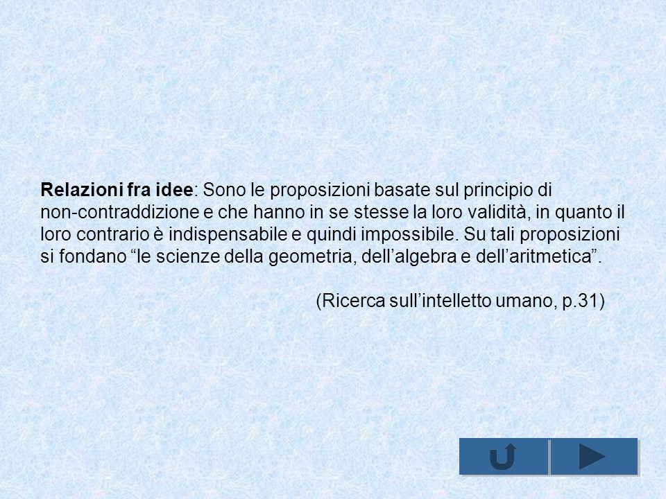 Relazioni fra idee: Sono le proposizioni basate sul principio di non-contraddizione e che hanno in se stesse la loro validità, in quanto il loro contrario è indispensabile e quindi impossibile.