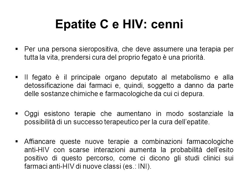 Epatite C e HIV: cenni