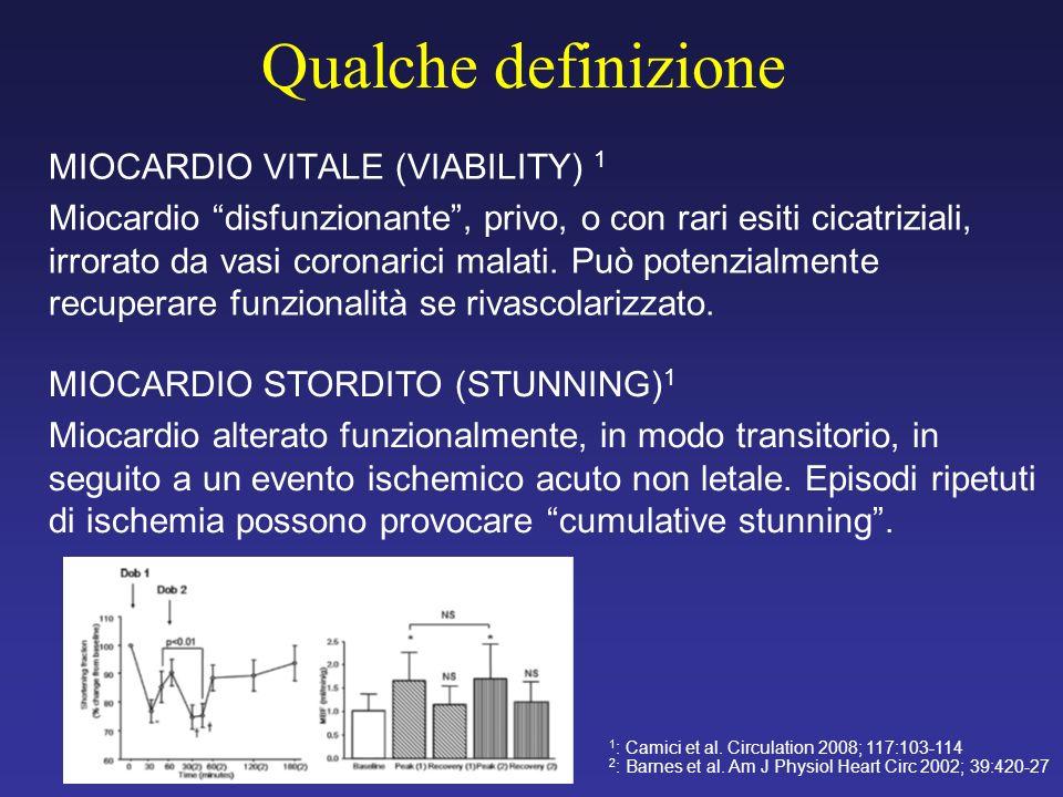 Qualche definizione MIOCARDIO VITALE (VIABILITY) 1