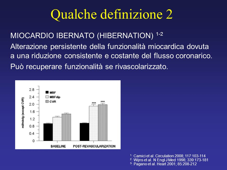 Qualche definizione 2 MIOCARDIO IBERNATO (HIBERNATION) 1-2
