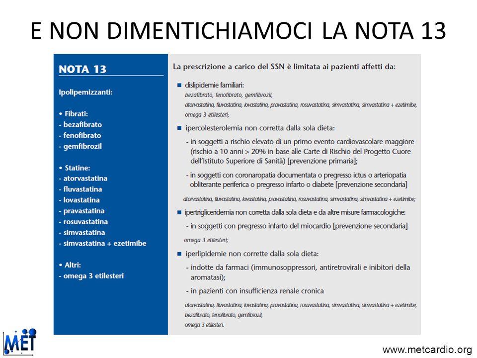 E NON DIMENTICHIAMOCI LA NOTA 13