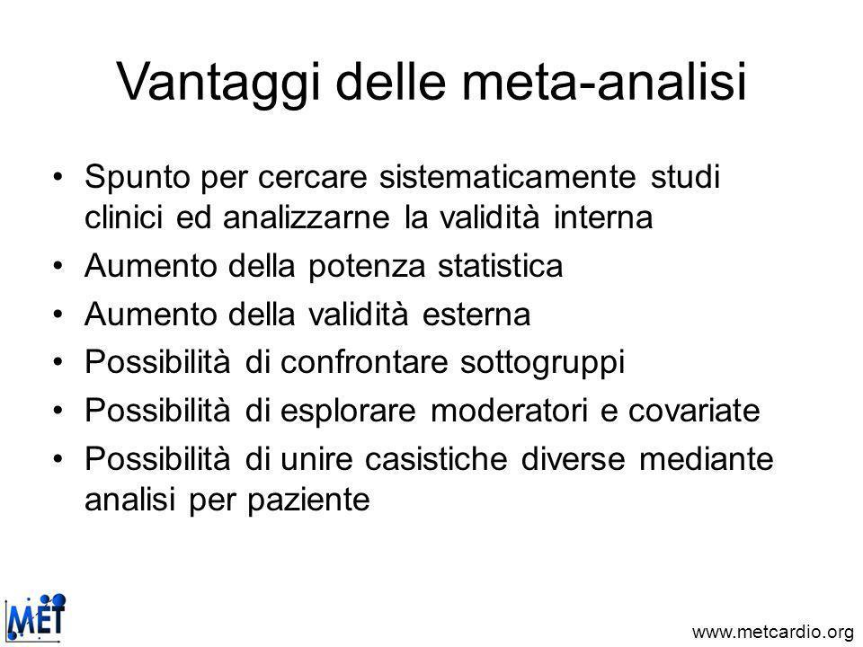 Vantaggi delle meta-analisi