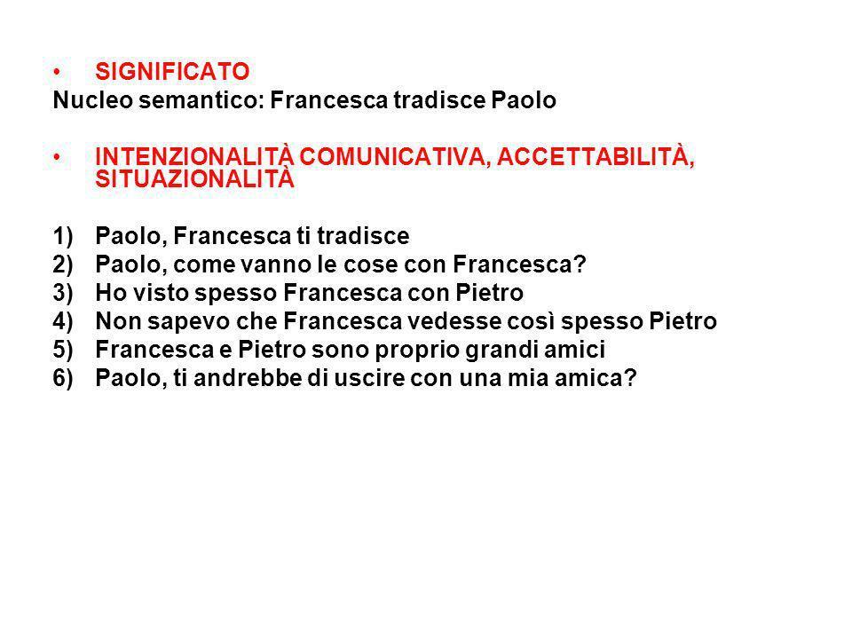SIGNIFICATO Nucleo semantico: Francesca tradisce Paolo. INTENZIONALITÀ COMUNICATIVA, ACCETTABILITÀ, SITUAZIONALITÀ.
