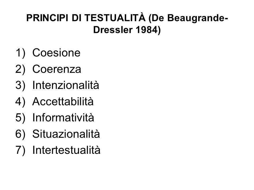 PRINCIPI DI TESTUALITÀ (De Beaugrande- Dressler 1984)