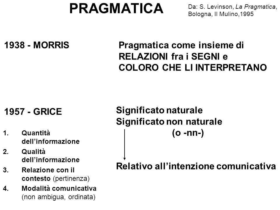 PRAGMATICA Da: S. Levinson, La Pragmatica, Bologna, Il Mulino,1995. 1938 - MORRIS.