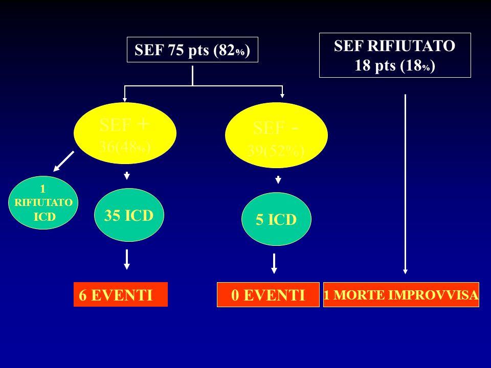 SEF + SEF - SEF RIFIUTATO 18 pts (18%) SEF 75 pts (82%) 36(48%)