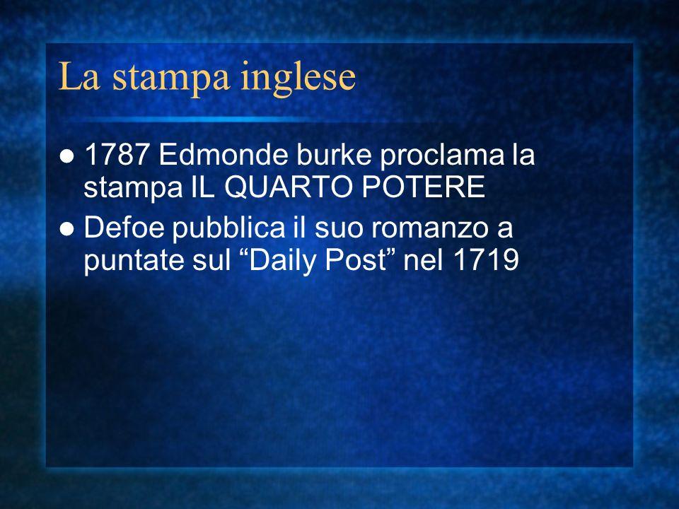 La stampa inglese 1787 Edmonde burke proclama la stampa IL QUARTO POTERE.