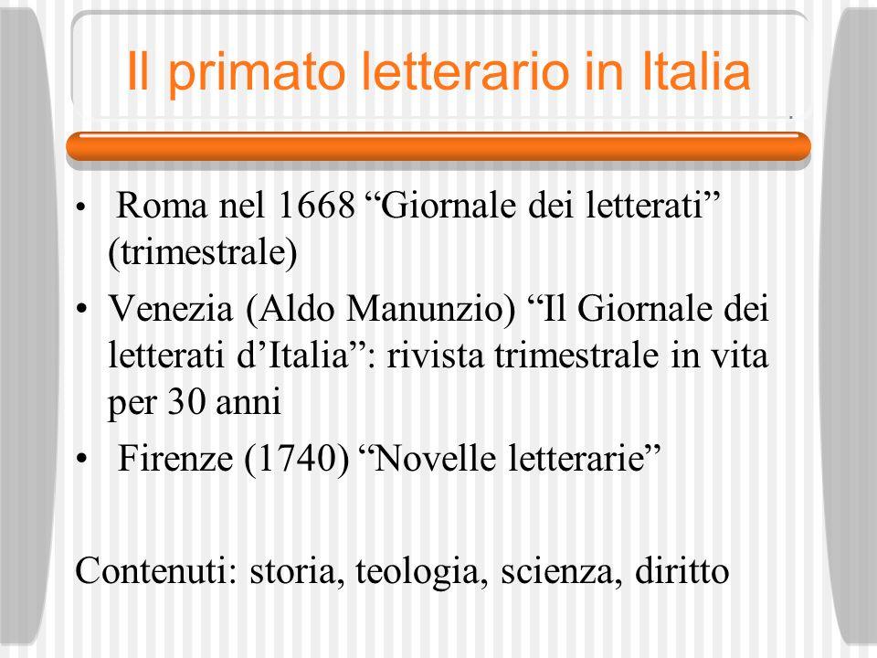 Il primato letterario in Italia