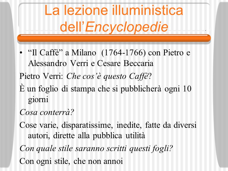 La lezione illuministica dell'Encyclopedie