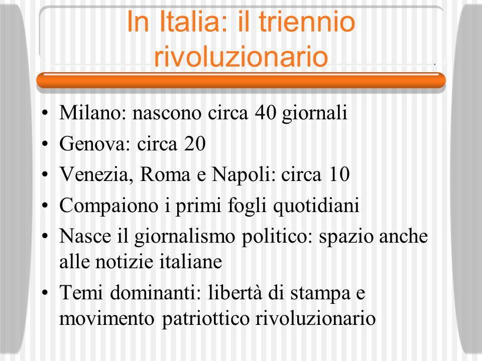 In Italia: il triennio rivoluzionario