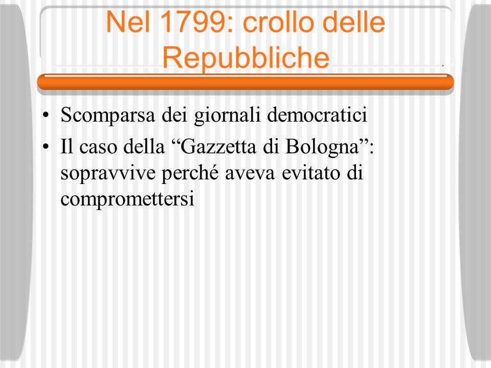 Nel 1799: crollo delle Repubbliche
