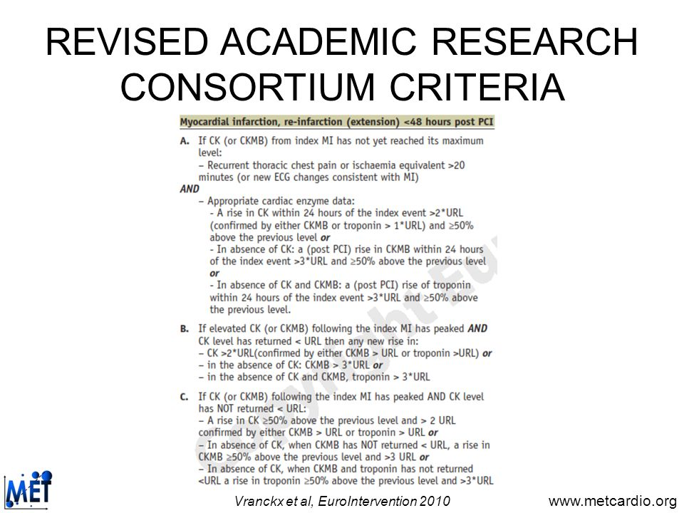 REVISED ACADEMIC RESEARCH CONSORTIUM CRITERIA