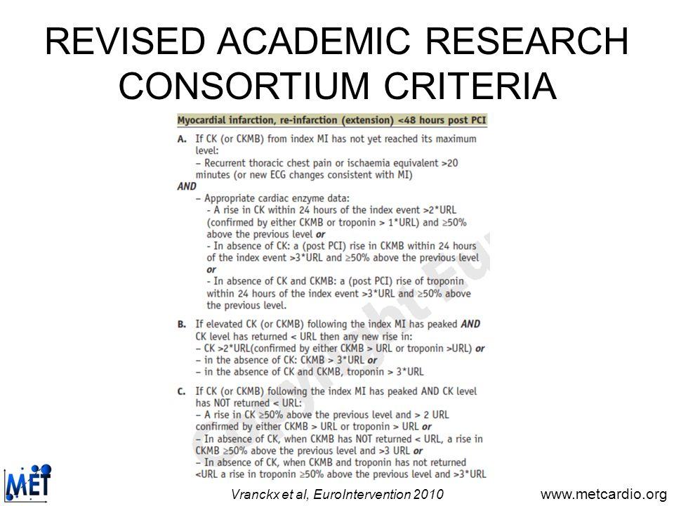 REVISED ACADEMIC RESEARCH CONSORTIUM CRITERIA